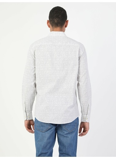 Colin's Slim Fit Standart Kol V Yaka Erkek Gömlek Uzun Kol Beyaz
